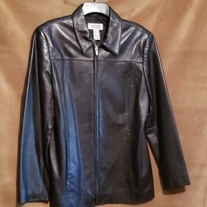 ALFANI Black Leather Jacket Sz L